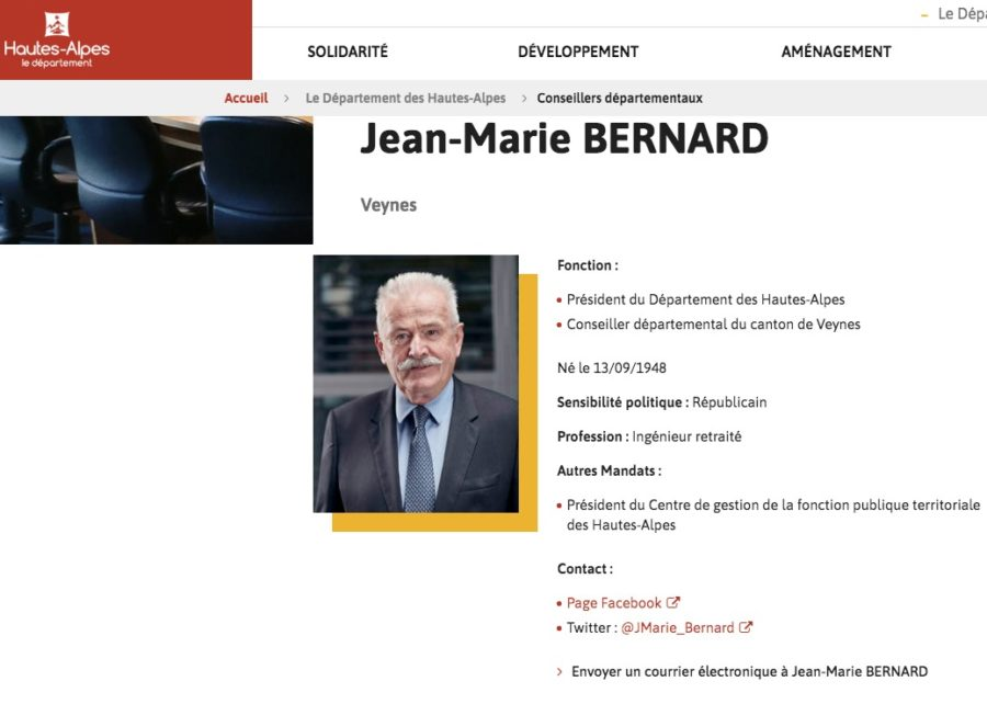 Jean-Marie BERNARD, président du Conseil Départemental des Hautes-Alpes